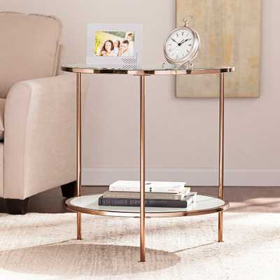 Risa Metallic Gold End Table - Style # 39G66 - Lamps Plus