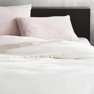 Gauze White Lightweight Blanket King - CB2