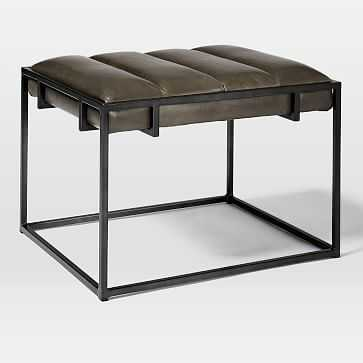 Fontanne Ottoman Square - Leather, Charcoal Vail/Brass - West Elm