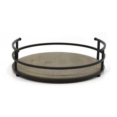 Stratton Home Decor Metal and Wood Tray, Black - Home Depot