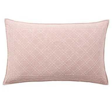 "Flint Embroidered Lumbar Pillow Cover, 16 x 26"", Blush - Pottery Barn"