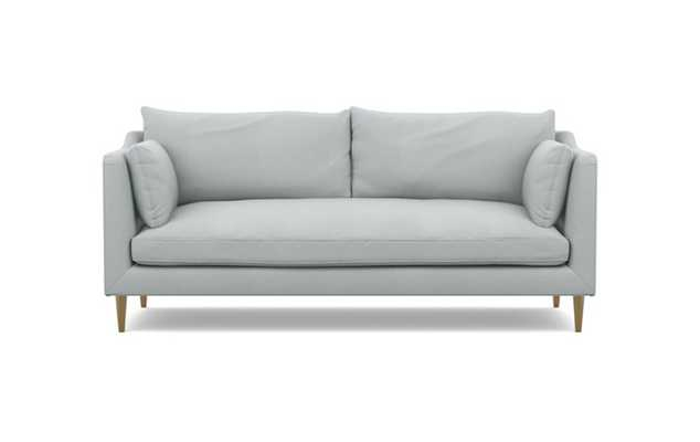 Caitlin by The Everygirl Sofa with Ore Fabric, Brass Plated legs, and Bench Cushion - Interior Define