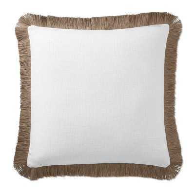 """AERIN Jute Fringe Linen Pillow Cover, 22"""" X 22"""", White - Williams Sonoma"""