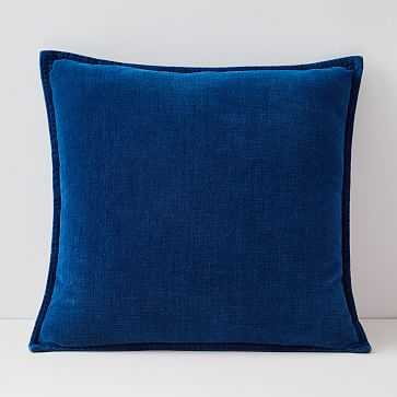 "Velvet Azure Pillow Cover, Set of 2, 20""x20"", Medium Washed - West Elm"