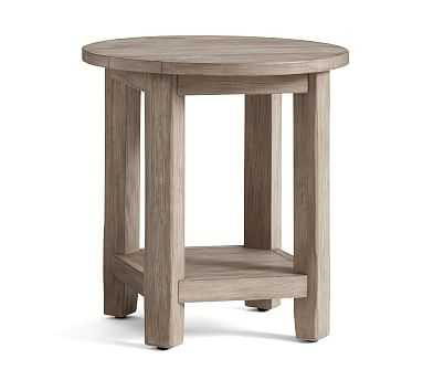Benchwright Round End Table, Gray Wash - Pottery Barn