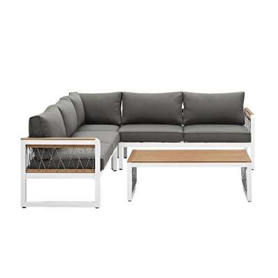 Walker Edison Furniture Company 4-Piece Wood Outdoor Sectional with Grey Cushions and Cord Accents - Home Depot