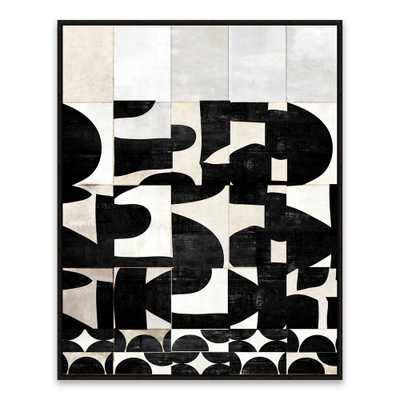 """23 in. x 29 in. """"Scramble"""" by Nikki Chu Framed Printed Canvas Wall Art, Black And White - Home Depot"""