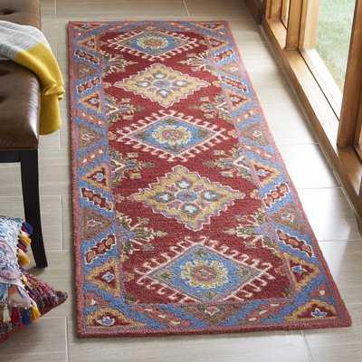 Garvin Hand-Tufted Wool/Cotton Red/Blue Area Rug - Birch Lane