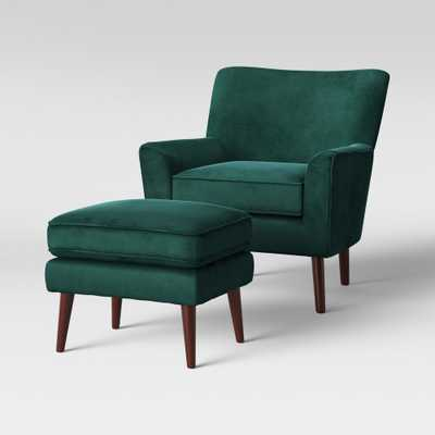 2pc Englund Chair and Ottoman Dark Green Velvet - Project 62 - Target