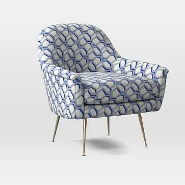 Phoebe Midcentury Chair, Poly, Modern Caning, Landscape Blue, Brass - West Elm