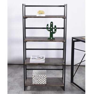 Bookshelf Rack 4 Tier Vintage Bookcase Shelf Storage Organizer Modern Wood Look Accent Metal Frame Furniture Home Office - Wayfair