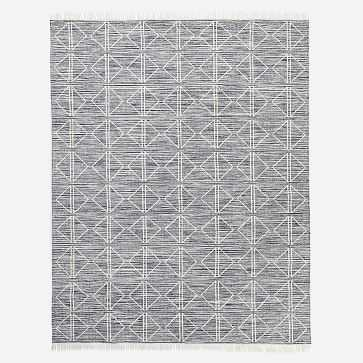Reflected Diamonds Indoor/Outdoor Rug, Iron, 9'x12' - West Elm