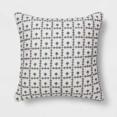 Embroidered Grid Square Throw Pillow Blue - Threshold - Target