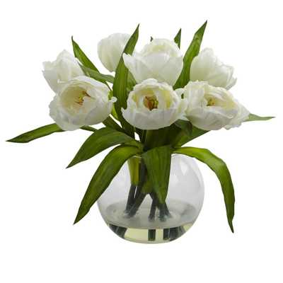 11 in. Tulips Arrangement with Vase - Home Depot