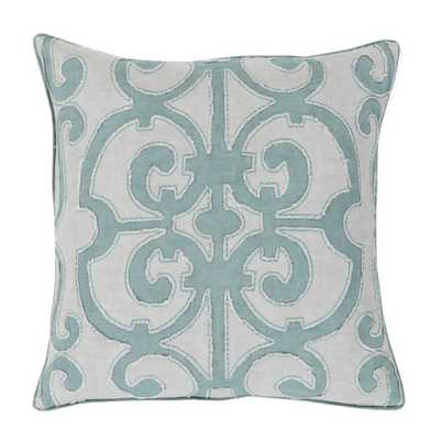 Sandra French Country Linen Down Teal Pillow - 20x20 - Kathy Kuo Home
