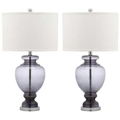 Safavieh Morocco 27 in. Smoking Grey Glass Table Lamp (Set of 2) - Home Depot