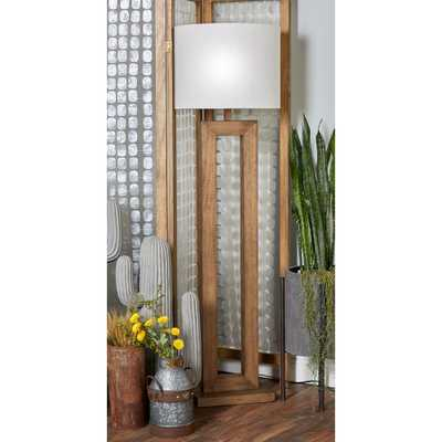 64 in. Brown Wooden Floor Lamp with Open Design Body and White Cylindrical Shade - Home Depot