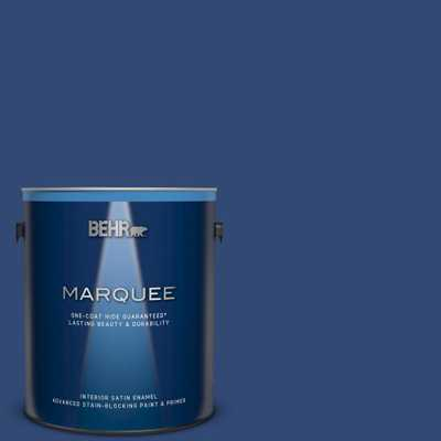 BEHR MARQUEE 1 gal. #S-H-580 Navy Blue Satin Enamel Interior Paint and Primer in One - Home Depot