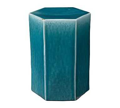Croft Ceramic Side Table, Teal, Small - Pottery Barn