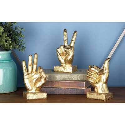 7 in. Distressed Gold Hand Sign Decorative Sculptures (3-Pack) - Home Depot