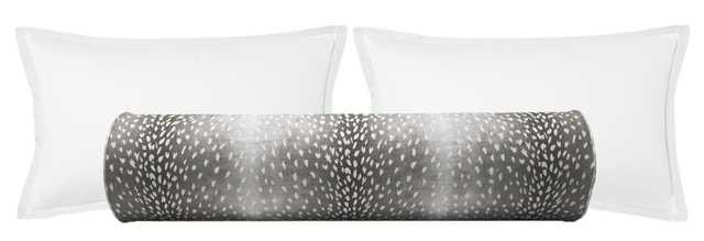 "The Bolster :: Antelope Linen Print // Charcoal - QUEEN // 9"" X 36"" - Little Design Company"