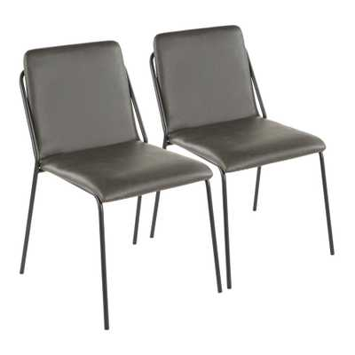 Lumisource Stefani Charcoal Faux Leather Upholstery Industrial Chair (Set of 2) - Home Depot