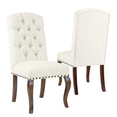 Crepeau Stain Resistant Texutred Back Upholstered Dining Chair Natural-set of 2 - Wayfair