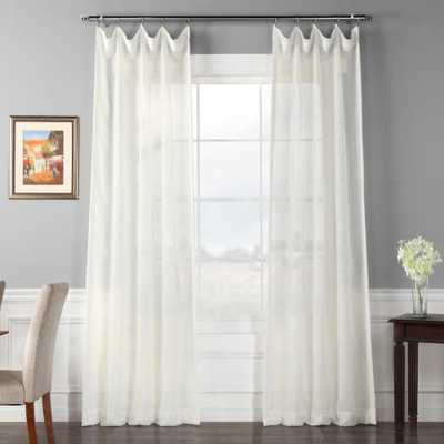 Exclusive Fabrics & Furnishings Signature Double Layered Off White Sheer Curtain - 50 in. W x 96 in. L (1-Panel) - Home Depot
