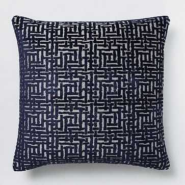 "Allover Crosshatch Jacquard Velvet Pillow Cover, 20""x20"", Nightshade - West Elm"