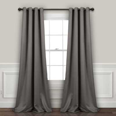 "Insulated Grommet Blackout Curtain Panels Dark Gray Pair Set 84""x52"" - Lush Decor - Target"