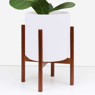 Peach & Pebble 11 in. White Ceramic Planter with Wood Stand (11 in. or 9 in.) - Home Depot