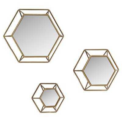 Yahoue 3 Piece Hexagonal Wall Mirror Set - Wayfair