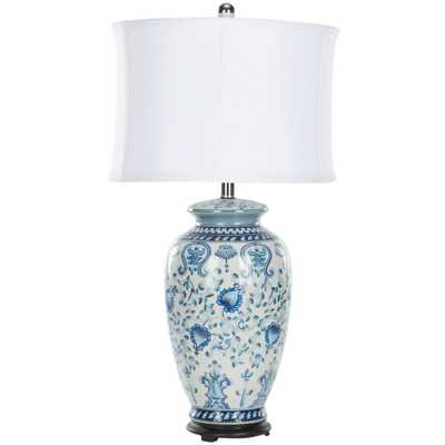 Safavieh Paige 29 in. Blue and White Table Lamp - Home Depot