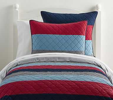 Block Stripe Quilt, Twin, Navy/Red - Pottery Barn Kids