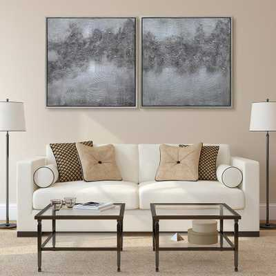 "Empire Art Direct ""Fog""Textured Metallic Hand Painted by Martin Edwards Abstract Diptych Set Framed Canvas Wall Art, Silver - Home Depot"