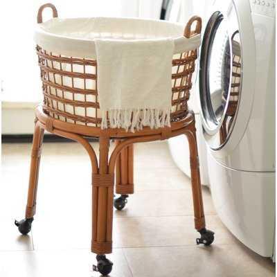 Rolling Wicker Laundry Basket - Birch Lane