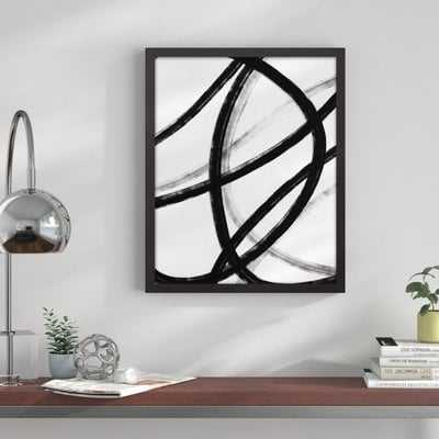 'Loops Black and White Abstract' Framed Graphic Art Print on Canvas - Wayfair