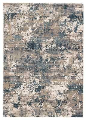 Intarsia Abstract Blue/ Gray Area Rug (8'X11') - Collective Weavers