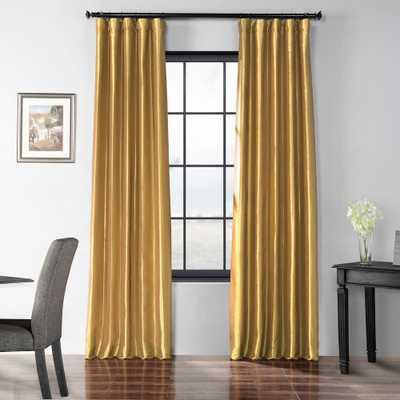 Exclusive Fabrics & Furnishings Golden Spice Blackout Faux Silk Taffeta Curtain - 50 in. W x 84 in. L - Home Depot