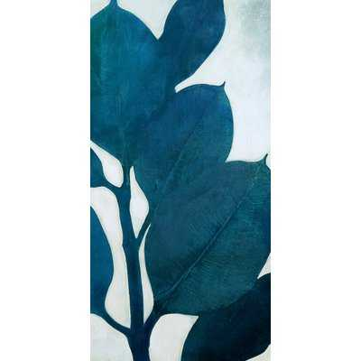 Narrow 'Teal Leaves II' Acrylic Painting Print on Stretched Canvas - Wayfair