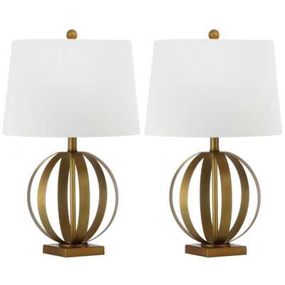 Safavieh Euginia Sphere 24.5 in. Gold Table Lamp with White Shade (Set of 2) - Home Depot