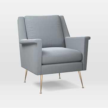 Carlo Mid-Century Chair, Astor Velvet, Steel Blue, Brass - West Elm