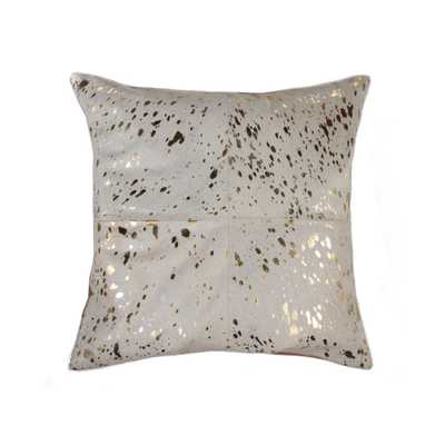 Torino Quattro Cowhide 18 in. x 18 in. Natural and Gold Pillow, Natural & Gold - Home Depot