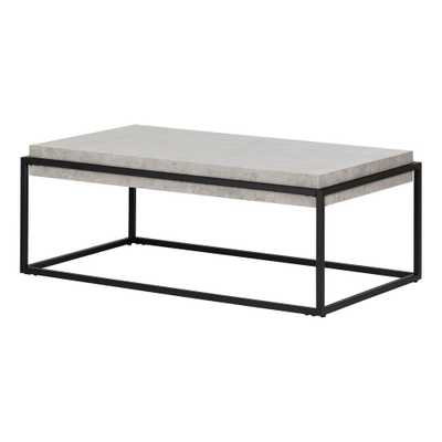 Mezzy Concrete Gray and Black Coffee and End Table - Home Depot