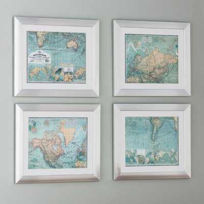 Map 4 Piece Framed Graphic Art Set - Birch Lane