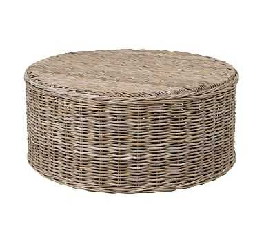 Rattan Round Coffee Table, Gray - Pottery Barn
