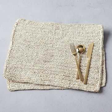 Metallic Crochet Placemat Set, Natural, Set of 2 - West Elm