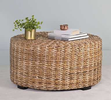 Woven Abaca Round Coffee Table - Pottery Barn