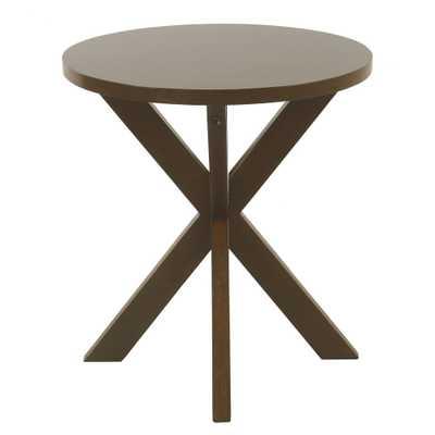 Round Wood Accent Table Dark Walnut Brown - HomePop - Target