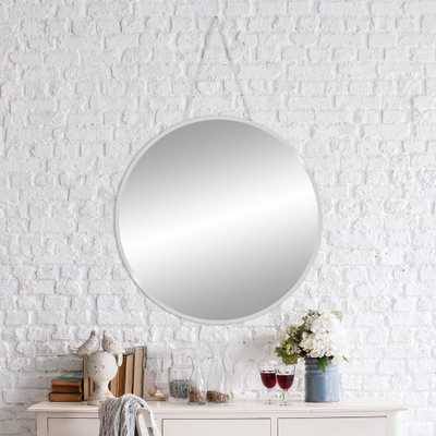 Beveled Hang Chain Round Silver Wall Mirror - Home Depot